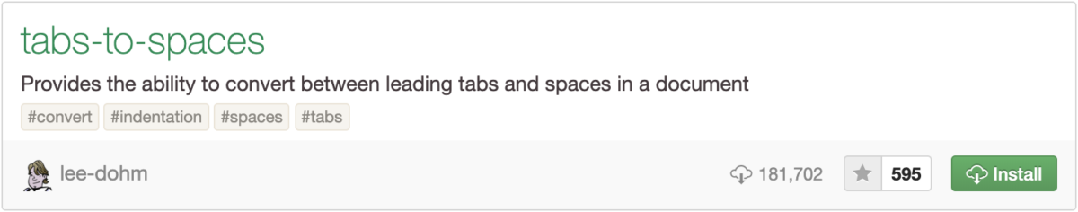tabs to spaces for atom
